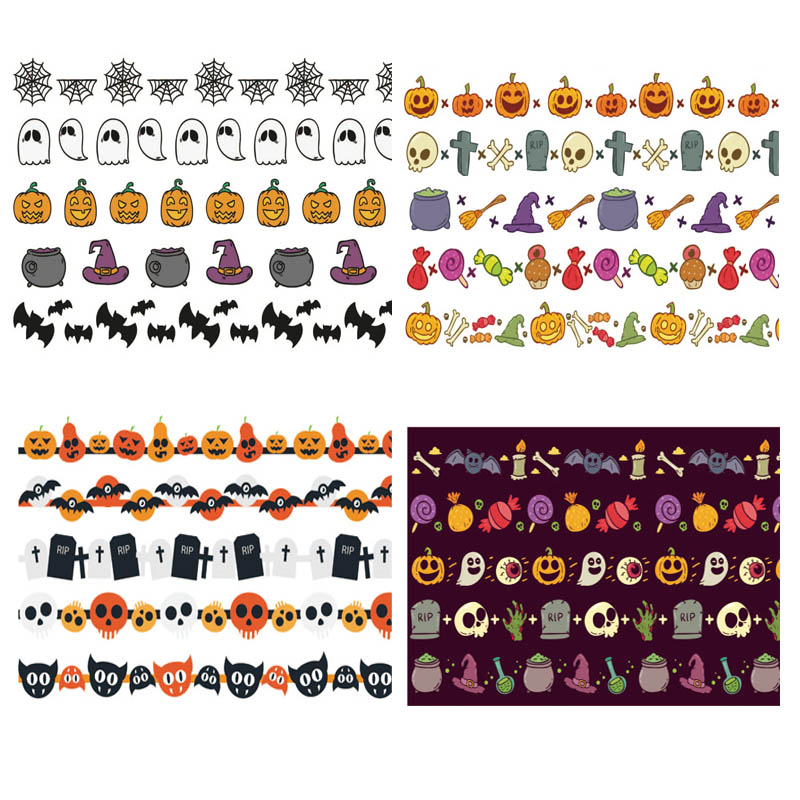 5Pcs/Set Halloween Washi Tapes Pumpkin Candy Bat Magic Hat Cute Masking Tapes Stickers Stationery Scrapbooking School Supplies