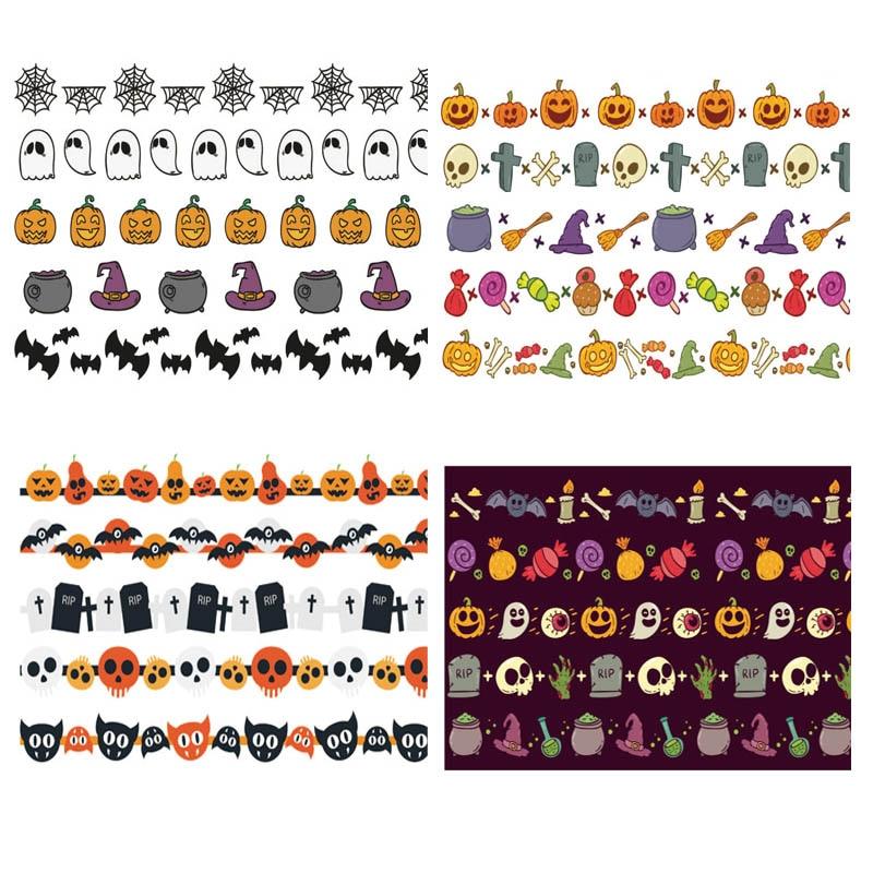 5Pcs/Set Halloween Washi Tapes Pumpkin Candy Bat Magic Hat Cute Masking Tapes Stickers Stationery Scrapbooking School Supplies