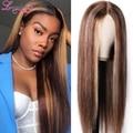 Длинный коричневый парик 150% Плотность 13x4 кружевной передний парик цветной бесклеевой передний парик из человеческих волос прямой парик Remy ...