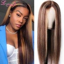 Longqi-peluca marrón de 150% de densidad, peluca con malla frontal de color sin pegamento, peluca con malla frontal de cabello humano liso, peluca brasileña Remy