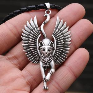 Amulet Egypt Cat Bastet necklace Ancient Egyptian Bastet Wiccan Egyptian Sphinx cat Bastet pendant Egypt cat with wing Talisman(China)