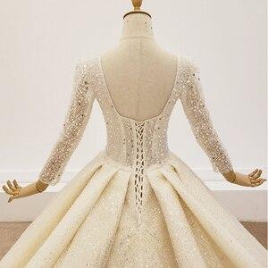 Image 4 - HTL1367 גדול נצנצים שמלת כלה ארוך שרוול הכלה שמלת נצנצים חתונה שמלת 2020 קפל בתוספת גודל trouwjurken