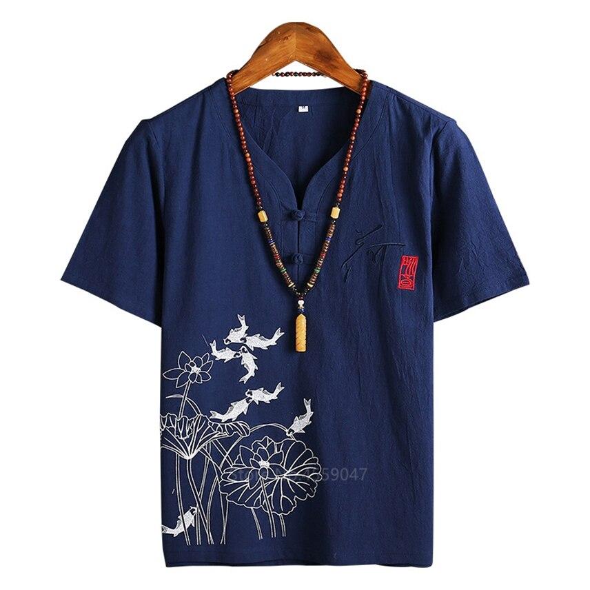Традиционная китайская одежда для мужчин в японском стиле, цветочный принт лотоса, принт рыбы, ретро сплошной цвет, v-образный вырез, костюмы...