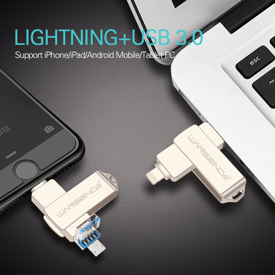 Купить с кэшбэком WANSENDA Metal USB Flash Drive 128GB OTG Pen Drive 32GB 64GB USB 3.0 Flash Disk for iPhone 12 Pro/12/11/XR USB Memory Stick