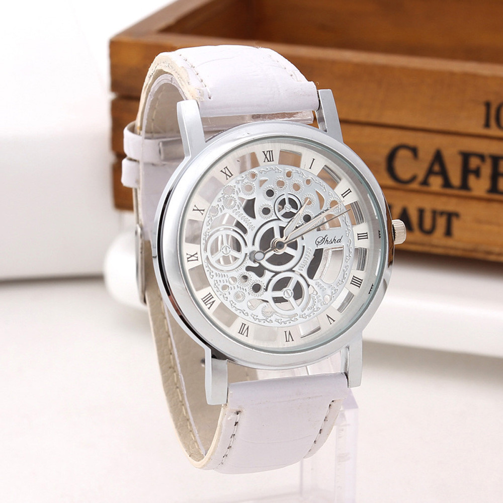 Fashion watches Men Retro design hollow out Stainless Steel Dial Quartz Military Sport Leather Band Dial Wrist Watch relogio W3 3