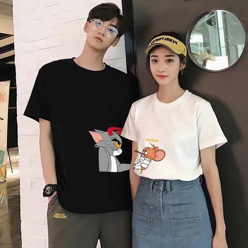 2020 Summer New Couple  Clothes Harajuku Cat And Mouse Print T-shirt Vogue Loose O-neck Casual Male Female T Shirt