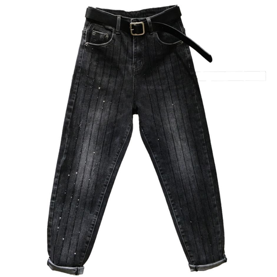 Denim Jeans Women Harem Beading Diamond Boyfriend Jeans For Women Spring Autumn 2019 Black  Harem Pants
