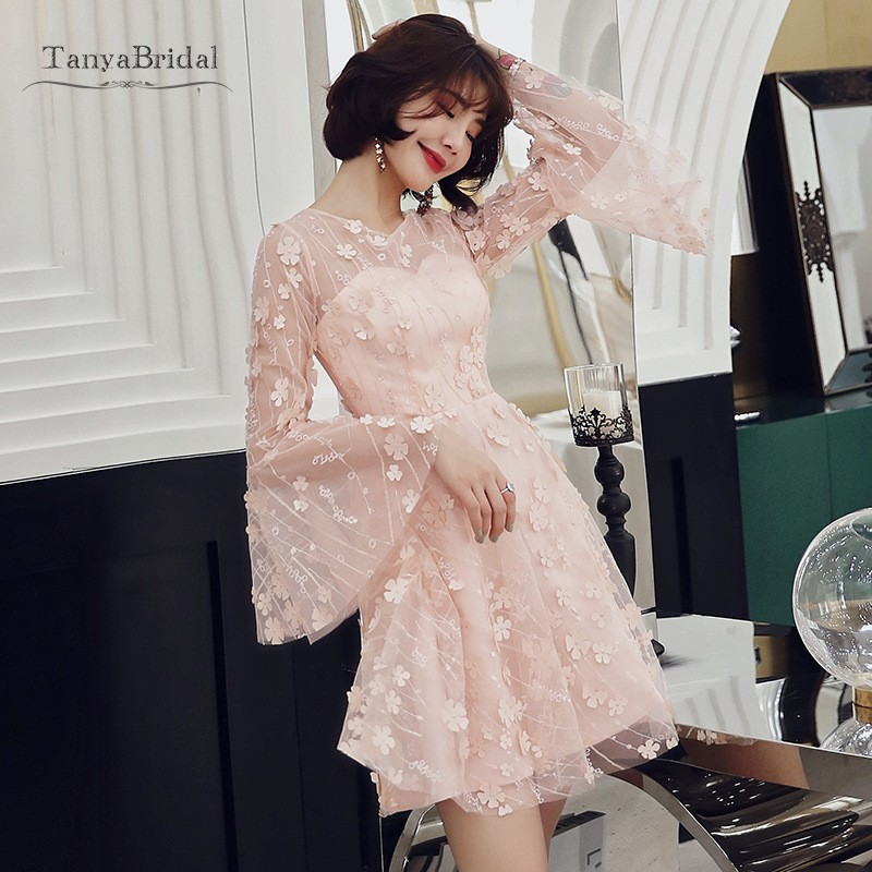 Elegant Pink Lace Flower Homecoming Dresses A Line Long Flare Sleeves Appliques Short Party Dress For Graduation