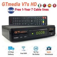 GTmedia V7S HD Digital Satellite Receiver Free 1 Year Europe 7 Cable Lines DVB S2 V7S HD Full 1080P+USB WiFi Upgrade Freesat NEW