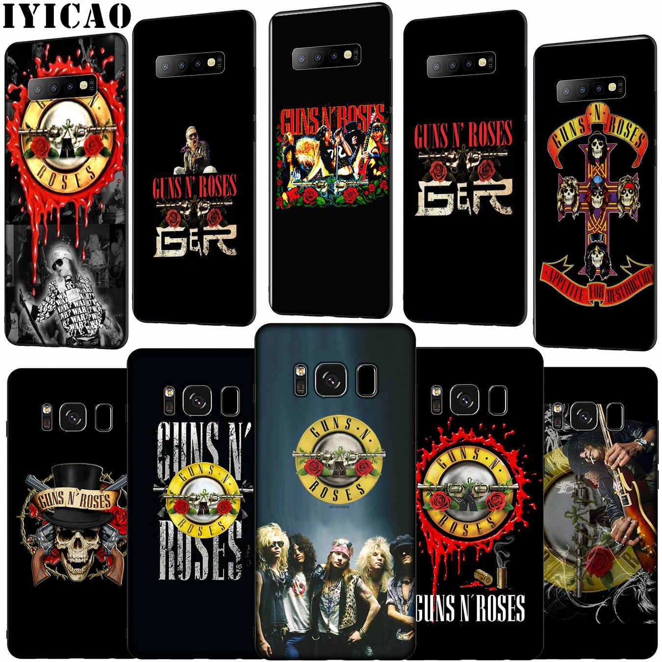 IYICAO guns n roses Guns N' Roses de silicona suave caso de teléfono para Samsung Galaxy S10 E S9 S8 más S6 s7 Edge S10e TPU cubierta negra