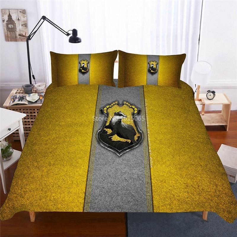 Hufflepuff magia escola crista texugo conjunto de cama potter roupas de cama linho duvet cover conjunto fronha meninos meninas dropshipping