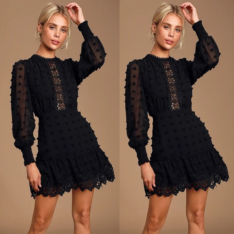 Quality-2019 Autumn Debutante Elegant WOMEN'S Dress Long Sleeve Crew Neck Flounced Skirt Dress Women's