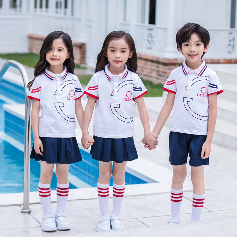 Summer Children Cotton T-shirt Set Young STUDENT'S School Uniform British-Style Short Sleeve Kindergarten Suit Business Attire T
