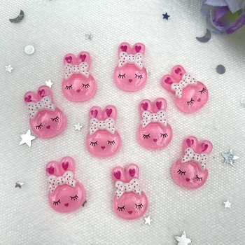 20Pcs Lovely rabbit Resin Decoration Crafts Flatback Cabochon Scrapbook Kawaii DIY Embellishments Accessories B83 - discount item  42% OFF Home Decor