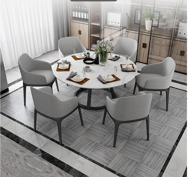 Round Marble Dining Table and Chair Combination  1