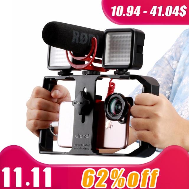 Ulanzi u rig pro smartphone equipamento de vídeo w 3 montagens de sapato caso filmmaking telefone portátil vídeo estabilizador aperto tripé suporte de montagem