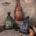 2019 FCTOSSR Originele Lederen Mannen Tas Handgemaakte Vintage Casual Borst Bag Cross body Man Schoudertas