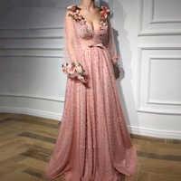 Rosa con todas las cuentas vestidos noche largo Apliques de encaje 3D Flores V-Cuello de manga completa longitud piso noche de fiesta Formal vestidos