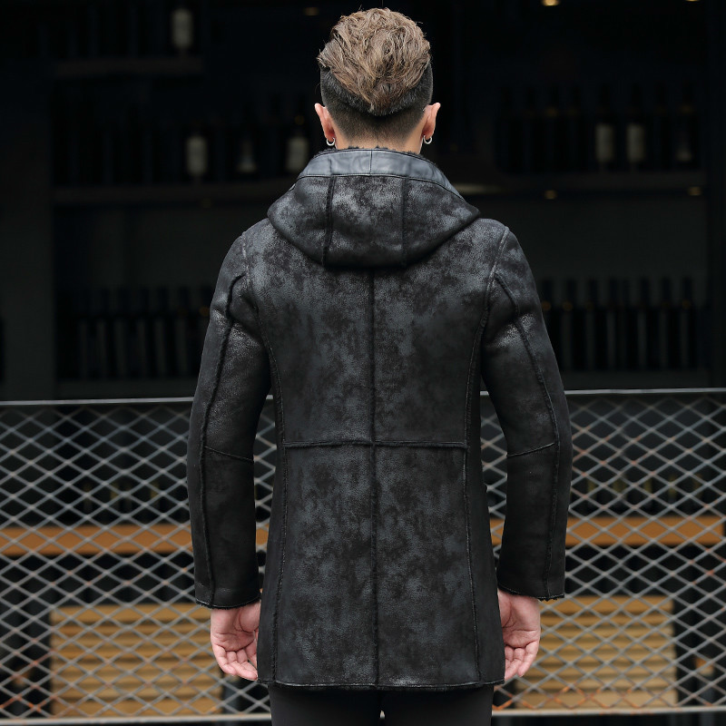 Genuine Leather Jacket Winter Jacket Sheepskin Men's Leather Jackets Male Natural Wool Fur Coat Cuero Genuino 8707 MY753