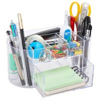 Multi-functional Dividing Grid Desktop Organizer Acrylic Transparent Stationery Pen Holder Cosmetics Storage with Drawer K-326