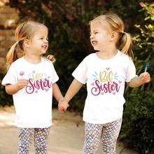 Children Clothing Big Little Sister T-Shirts Sisters Matching Outfits Twins Kids Girl Family Look Matching Anouncement Tops Tees