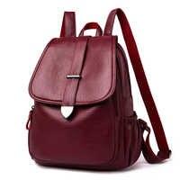Mochila de cuero para mujer 2020 mochila escolar para niñas pommax B19-009 bolso de moda negro para mujer