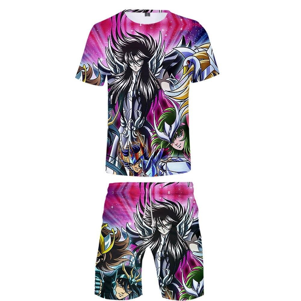 Hot Sales Saint Seiya 3D Printed Short Sleeves T-shirt Shorts Set + Childrenswear