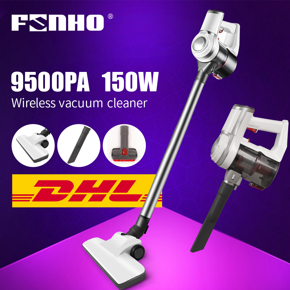 FUNHO 150W Handheld Wireless Vacuum Cleaner Vertical Cyclone Filter 9500Pa Strong Suction Dust Collector Aspirator for Household