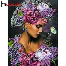 Huacan – peinture diamant femme, broderie complète 5D, motif floral, mosaïque, Art mural, à bricolage soi-même, nouveauté