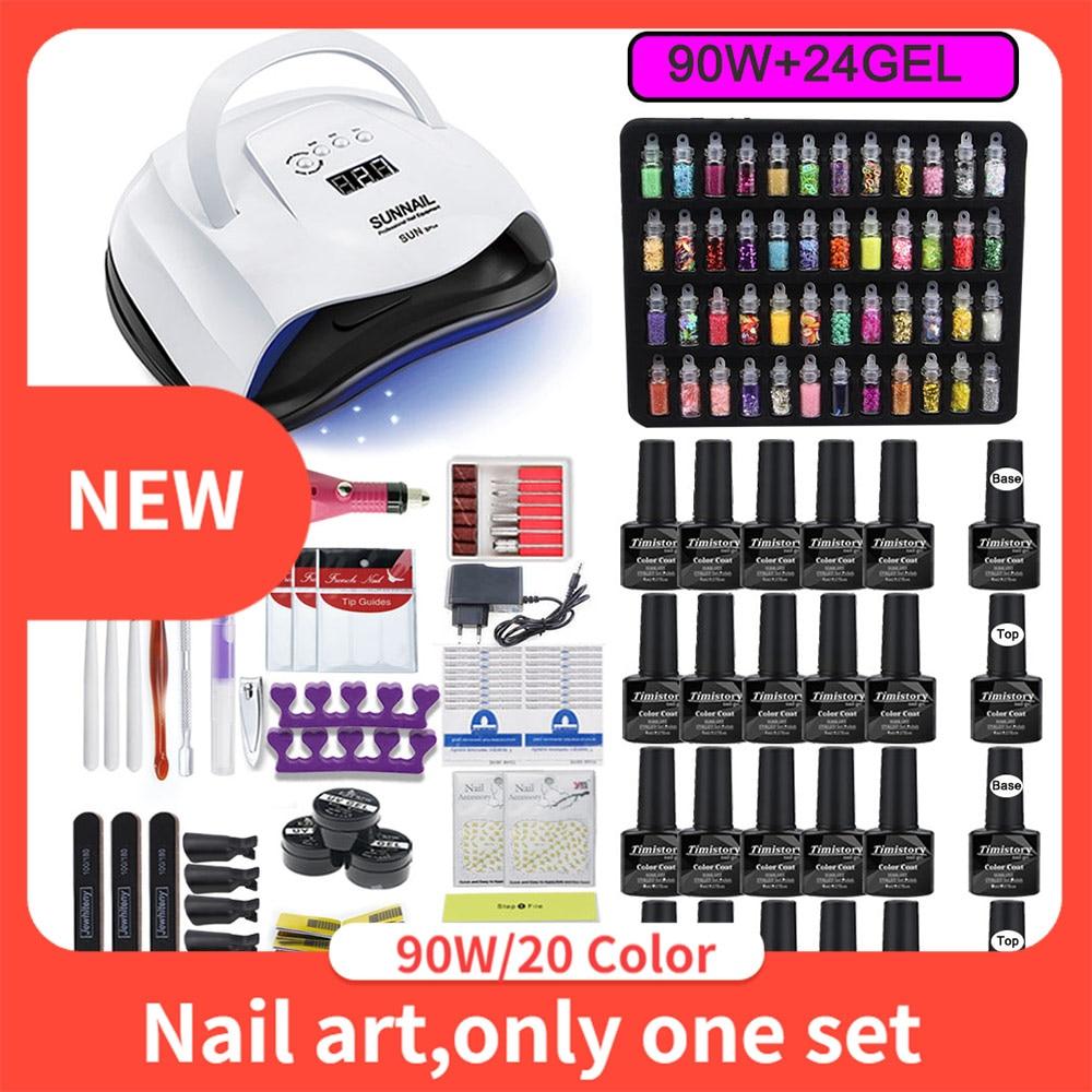 Professional 20 Color Nail Gel Set Nail Art Salon/DIY At Home Nail Kit With Nail Drill Machine Nail Lamp All Tools For Manicure