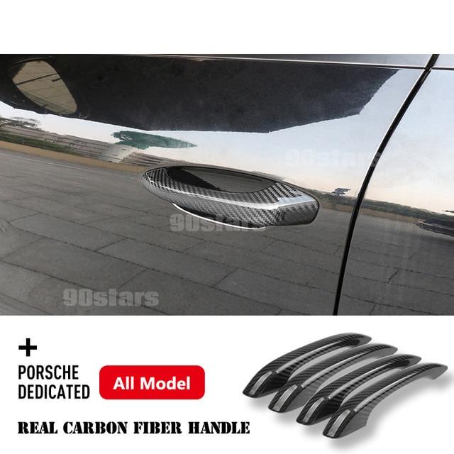 For Porsche 718 Cayenne Macan Panamera 2017 2018 2019 2020 Carbon Fiber Car Exterior Door Handle Cover Moulding Trim Car Styling 2