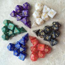 7 шт./компл. цветные кости Polyhedral DnD смешанные игровые кубики Игра настольная игра набор костей + сумка для хранения Идеальный подарок для люби...