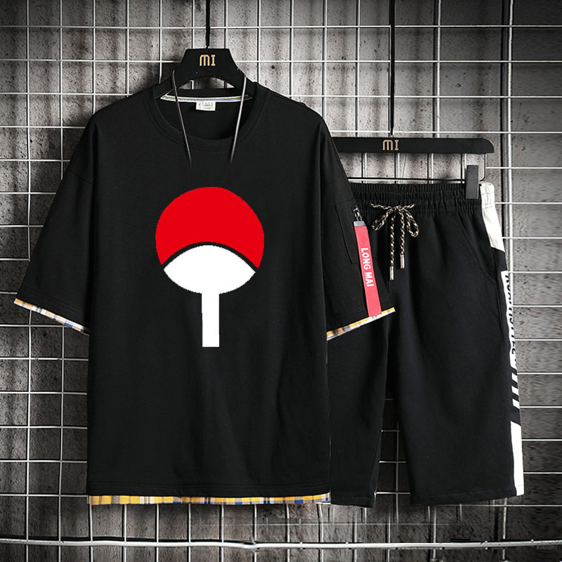 High-Q Unisex Anime NARUTO Sharingan Pure Cotton T-Shirt Uchiha Sasuke Punk Rock Loose Short Pants Sets