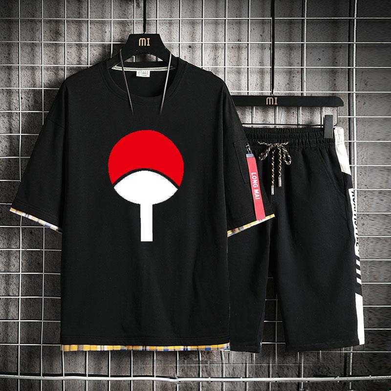 High-Q Unisex Anime NARUTO Sharingan Pure Cotton T-Shirt Uchiha Sasuke Punk Rock Loose Short Pants Sets
