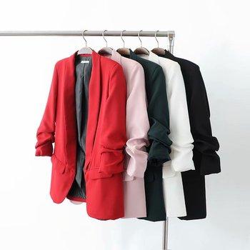 White Blazer Women Suits 2020 Spring Summer Three Quarter Sleeve Thin Jacket Leisure Pink Blazer