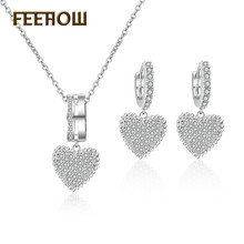 FEEHOW 2019 Shiny Crystal Zircon Heart-shaped Earrings Necklace Set for Women Wedding Party Valentines Day Jewelry FWSP3014