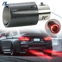 Silenciador Universal para coche, tubo de escape modificado de 35-63mm, de fibra de carbono, LED rojo, luminoso, cromado, Turbo Sport