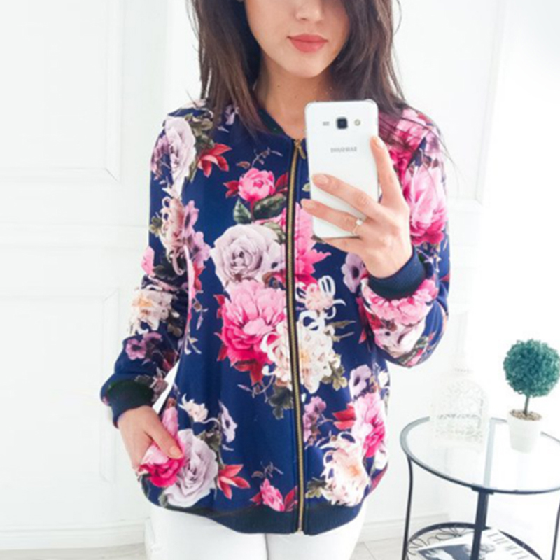 Autumn Women's Bomber   Jacket   Winter Thick Zipper Up Flower Print Coat Women Long Sleeve Pockets   Basic     Jackets   Coats Outwear