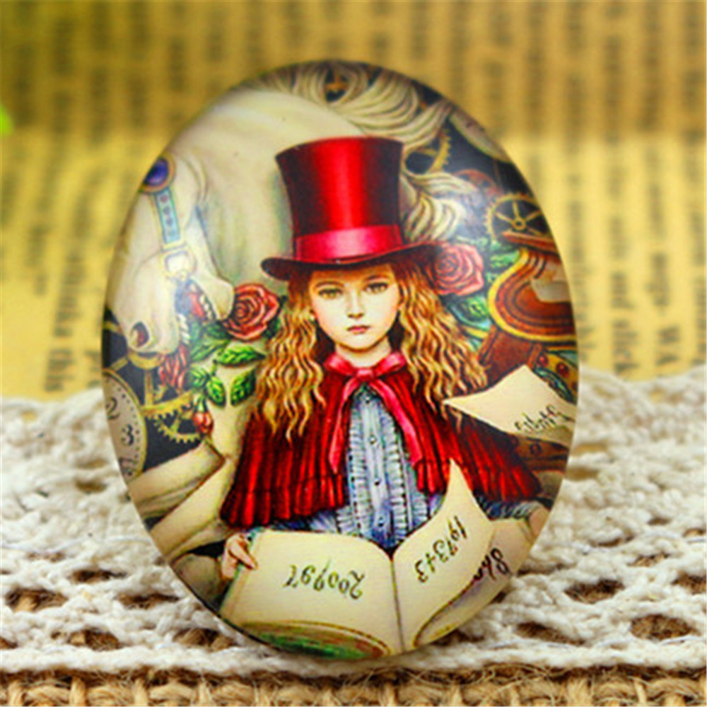 New Fashion  2pcs 30x40mm Handmade Photo Glass Cabochons (Red Hat Lady)  (I3-08)