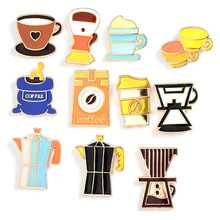 Cartoon coffee machine coffee cup pot brooch  enamel pins Commemorative badge Metal Dripping oil Boutonniere Children's jewelry цена 2017