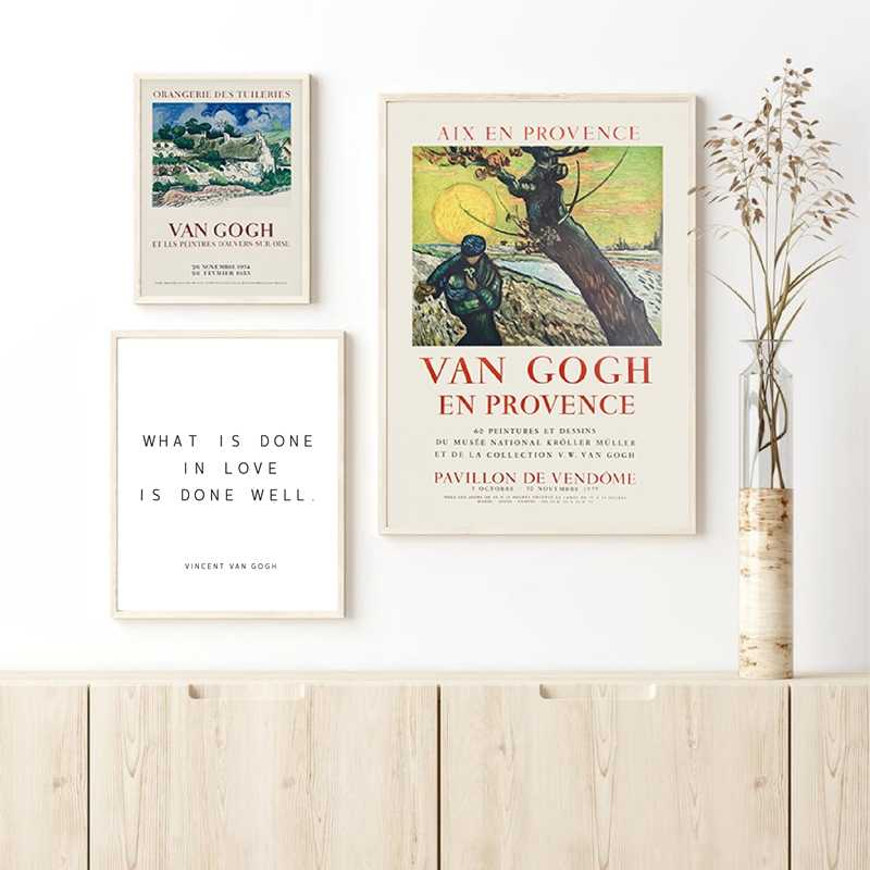 Vincent Van Gogh Citazioni di Amore della Tela di Canapa Pittura Originale Francese Mostra Poster Galleria di Arte Della Parete Immagini di Stampa Complementi Arredo Casa