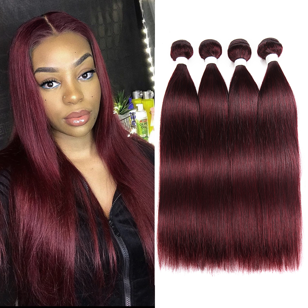 99J/Burgundy Brazilian Straight Human Hair Bundles KEMY HAIR 100% Human Hair Weave Bundles Non-Remy Hair Extension 3/4 PCS