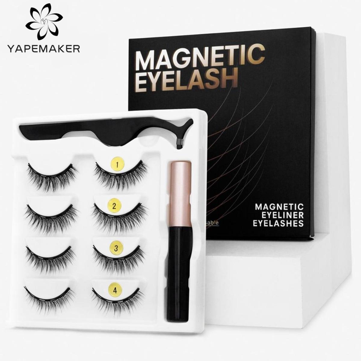 Magnetic Eyelashes 3D Mink Eyelashes Magnetic Eyeliner Magnetic Lashes Short False Lashes Lasting Handmade Eyelash Makeup Tool 1