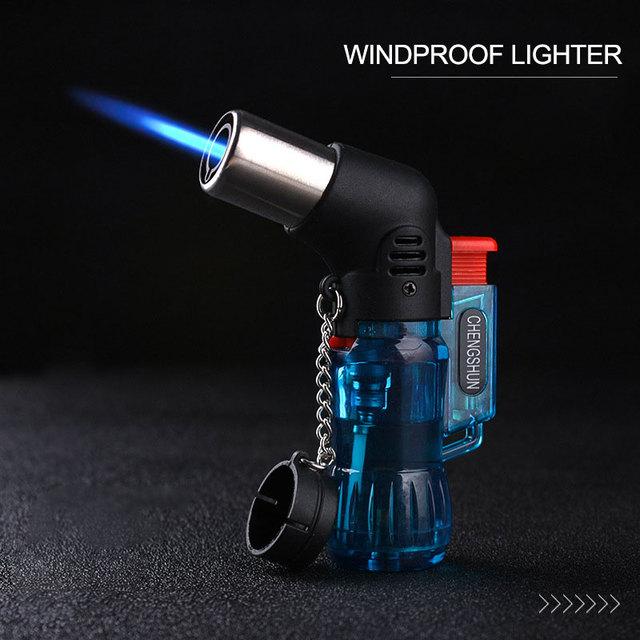 1 ud., Mini mechero a prueba de viento con chorro de butano, encendedor ignífugo ajustable, mechero recargable, envío directo
