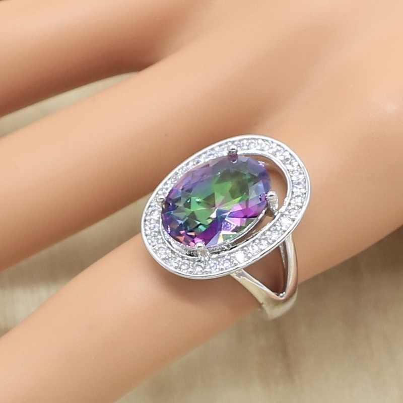 Oval Multicolor Regenbogen Zirkon 925 Silber Schmuck Set für Frauen Armband Ohrringe Halskette Anhänger Ring Geburtstag Geschenk