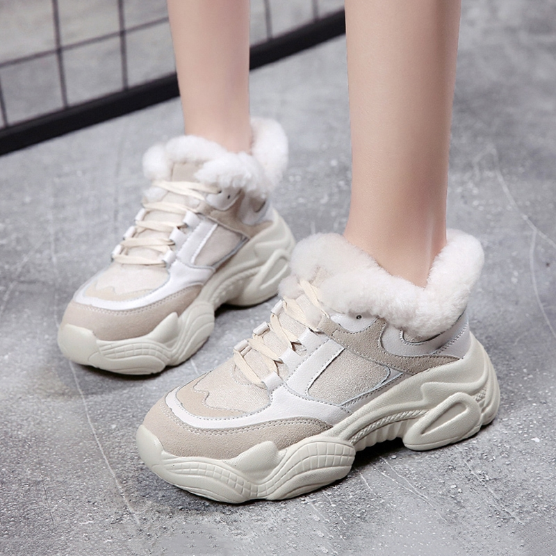 Winter Fur Shoes Warm Women Chunky Sneakers 4cm Heel Thick Sole Snow Women's Sneakers Ladies Platform Shoes
