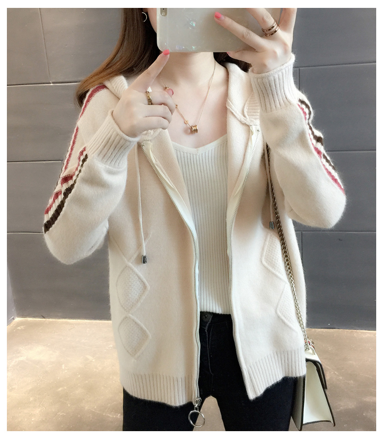 Short Cardigan Female 2019 Autumn Women Long Sleeve Cardigan Sweater Hooded Knitting Cardigans Coat Women Jacket Tops