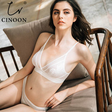 CINOON New ultra - thin sexy lace transparent style underwear Wire free comfortable breathable bra sets embroidery lingerie