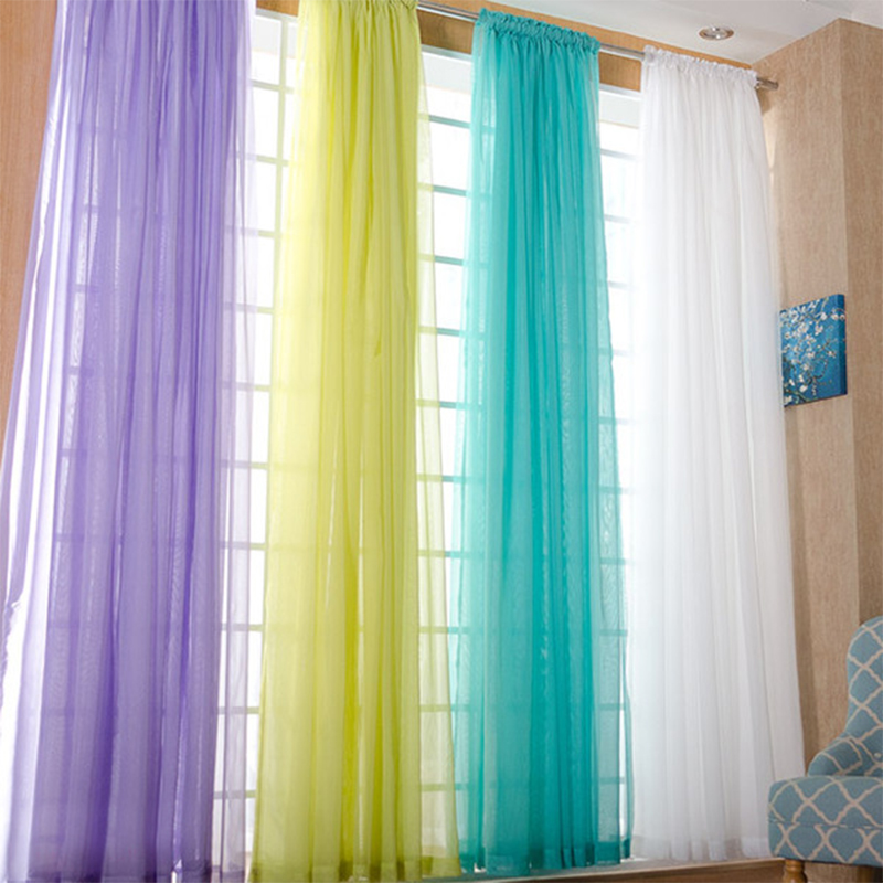 Transparent White Tulle Curtains for Living Room Decoration Modern Chiffon Solid Sheer Voile Kitchen Curtain 5zmm267
