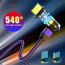 180°+360° Free Spin Magnetic USB Cable For iPhone Samsung Mobile Phone Fast Ch